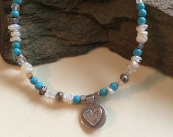 Turquoise, Freshwater Pearls and Sterling Silver Bracelet