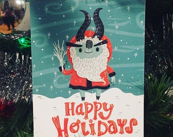 Krampus Christmas Card for the Holidays   Christmas Card   Holiday Card