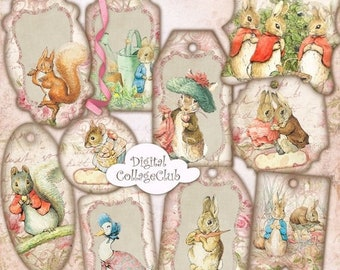 80% OFF Summer Sale Peter Rabbit Party Tags Digital Collage Sheet Digital Easter Images for Card Making Peter Rabbit Birthday Baby Shower Ta