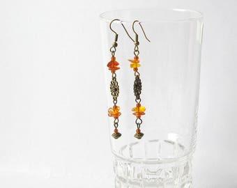 Natural Amber Dangle Earrings, Raw Baltic Amber Earrings, Gemstone Earrings, autumn sun, bohemian earrings,bronze earrings, yellow earrings