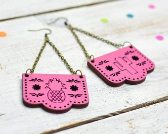 Papel Picado Earrings, Hot Pink, Mexican Bunting Jewellery, Dia De Los Muertos, Dangle Earrings, Nickel Free
