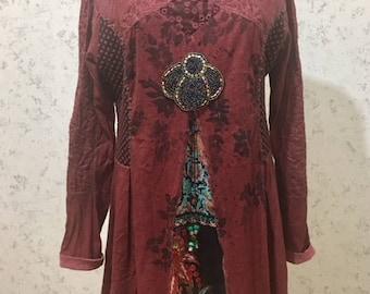 Gypsy Clothing, Boho Clothing, Upcycled Recycled Repurposed Clothing, Boho Top Tunic, Gypsy Top, Upcyled Clothing, Recycled Top Tunic Dress