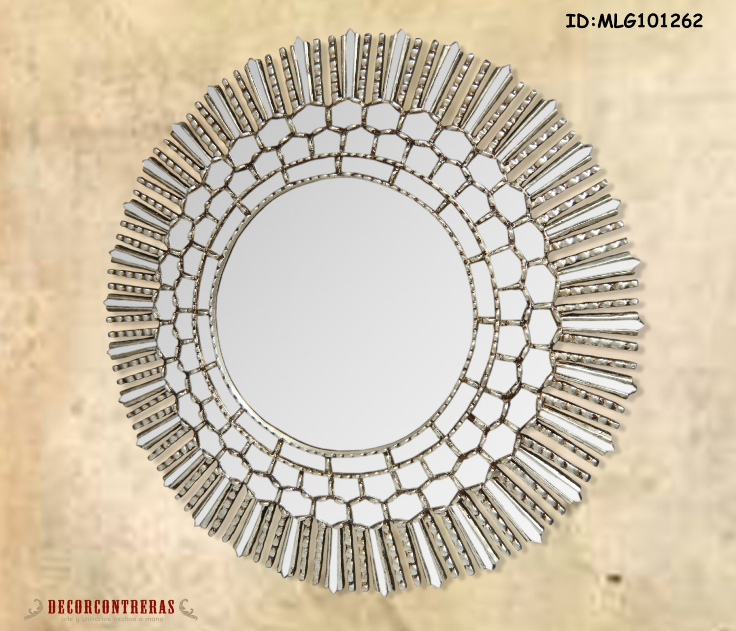 Large Round Decorative wall Mirror Cuzco style 31.5H