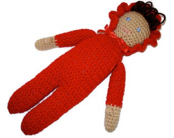 Crochet Soft Stuffed Doll Dolly in Red with Dark Brown Hair and Blue Eyes Medium Skin tone Hispanic for Babies Girls Kids