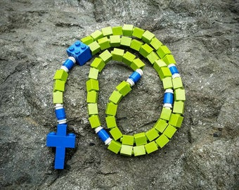 The Original Mementomoose Rosary Made with Lego Bricks - Green and Blue Catholic Rosary