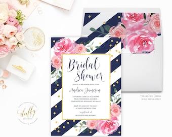 Bridal Shower Invitation, Bridal Shower Invitation Pink and Gold , Bridal Shower Invitation, Bridal Brunch Invite, Wedding Shower Invitation