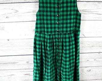 Vintage Fads 90s Grunge Green & Black Plaid Pleated Jumper Dress- Size 6 Petite- 100% Cotton