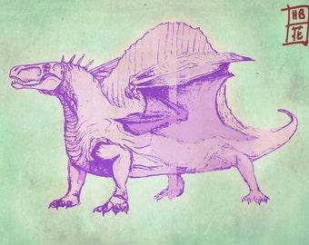 Dimetrodon Dragon Print