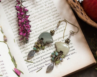 Jasper bears peridot green garnet labradorite earrings