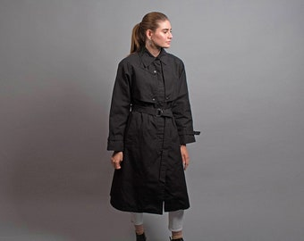 Utilitarian Black Trench Coat / Vintage 80s Trench Coat / Midi Trench Coat / Military Trench Coat Δ fits sizes: S/M/L