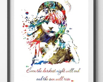 Les Miserables Victor Hugo Quote watercolor Print Even the darkest night will end and the sun will rise Cosette poster wall decor gift [23]