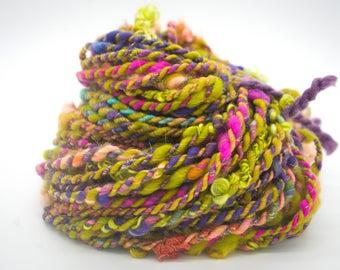 """Handspun Art Yarn/ """"Harajuku""""/ Corespun Yarn/ Hand Dyed Yarn/ Merino 2 Ply"""