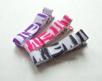 Zebra Stripes Clippie Set - Pink Black Purple Wild Animal Print Tuxedo Bow No Slip Hair Clips