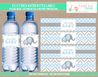 Elephant Baby Shower Water Bottle Labels, Elephant Water Bottle Wraps, Blue and Grey, Instant Download, Blue, #0007
