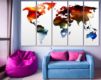 Multicolor modern world map wall art print set of 3 or 5 panels, large world map digital print on canvas Colorful world map modern wall art