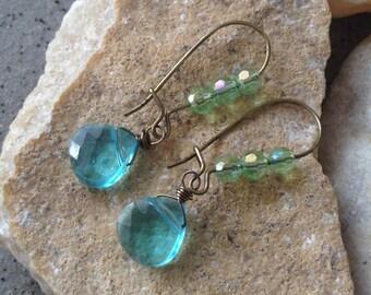SALE!!! 50% OFF -Crystal Antiqued Brass Earrings