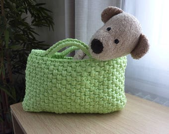 Small bag, Tote, daughter, violet and lime green basket