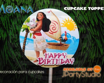 Moana cupcake toppers, set of 12