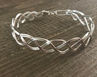 Sterling silver weave wire wrap bracelet