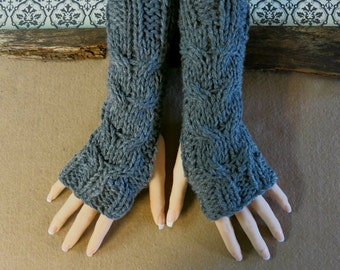 Fingerless Gloves, Dark Grey Wrist Warmers, Cabled Arm Warmers, Womens Chunky Knitted Gloves, Australia, Nchanted Gifts