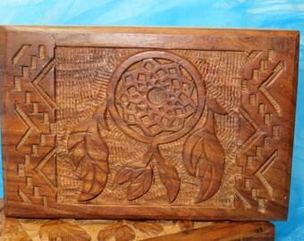 Dream Catcher Natural Wood Box For Tarot Cards Treasures Healing Stones Jewelry Keepsake Box