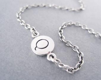Initial Q Bracelet, Silver Letter Bracelet, Letter Q, Q Bracelet, Q Initial, Initial Bracelet
