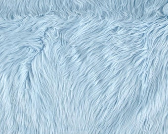Baby Blue Shaggy Luxury Faux Fur Fabric by the yard (Z2)