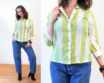 60s Green Striped Blouse M, Lime Green & White Mod Crepe Retro Vertical Wide Stripes Vintage Ship N Shore Women's Shirt, Medium