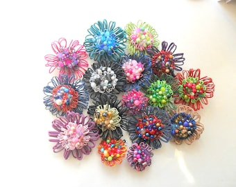 Customised Handmade Flower Embellished Flower Brooch Colours To Your Specification Prom Flower