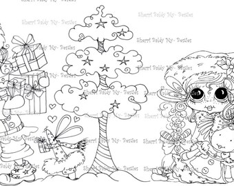 INSTANT DOWNLOAD Digital Digi Stamps Big Eye Big Head Dolls Digi  My Besties Winter Party By Sherri Baldy