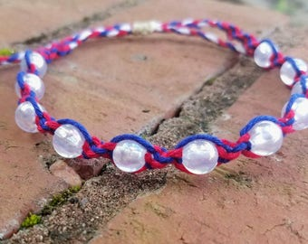 patriotic jewelry, patriotic gifts, patriotic gifts for women, 4th of july jewelry, fourth of july, summer anklets, ankle bracelet, hemp