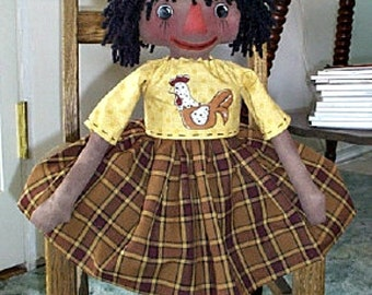 Black Rag Doll Pattern, Primitive Black Doll Pattern, Instant Download, Cloth Doll Pattern, Rag Doll Pattern, E-Pattern, Lil Chicken Annie