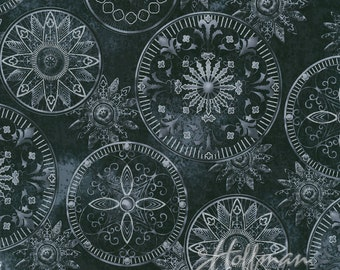 Hoffman - Star Gazing - Celestial Medallions w/ Metallic Silver - Black - Fabric by the Yard P7560-4S