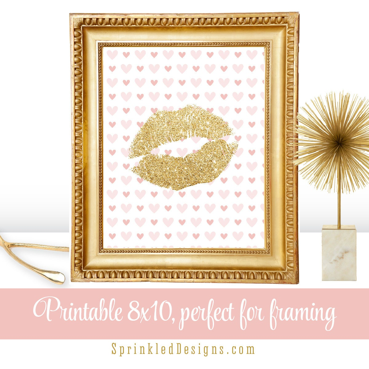 Gold Glitter Lips Printable Makeup Vanity Room Decor Girls