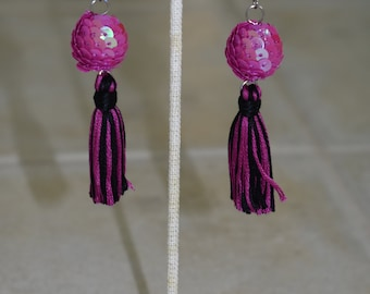 Sequin Earrings. Fuchsia Earrings. Statement Jewelry. Fuchsia and Black. Shimmer Tassel. Pageant Earrings. Girls Night Out. Gift Under 25.