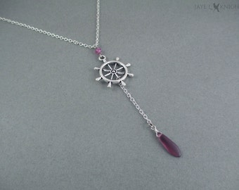 Lavender Ship's Wheel Nautical Themed Lariat Necklace - Pirates of the Caribbean - Once Upon a Time - Captain Hook