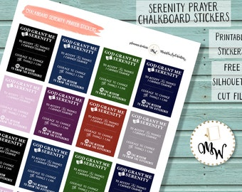 Serenity Prayer Stickers, Chalkboard Stickers, Recovery PRINTABLE Stickers | Serenity AA Prayer Die-Cuts | Big Book Insert | 12 step Sticker