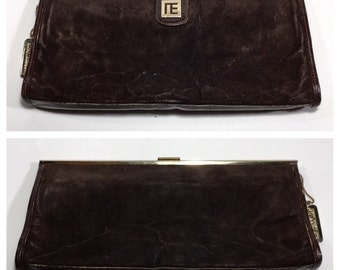 1960s Givenchy Clutch Bag Brown Suede Vintage Handbag Givenchy Leather Purse Designer Evening Bag