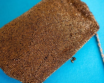 Vintage Bronze Gold Beaded Small Evening Bag Clutch Purse - Very 1920s 1930s 1940s 1950s 1960s Art Deco Hollywood Gatsby Flapper Wedding
