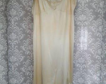 Vintage Slip, Slip Dress, Beige Lace Slip