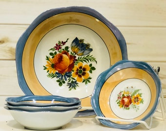 Blue Orange Floral Bowl Set Lusterware Made in Germany