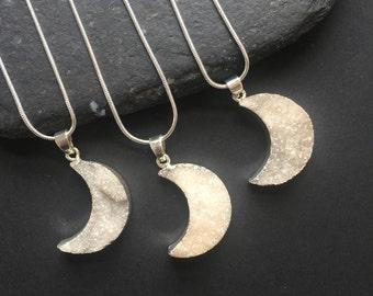 Druzy moon pendant Moon necklace Druzy Pendant Moon Druzy moon /Silver druzy Crescent moon Luna Space Sterling silver