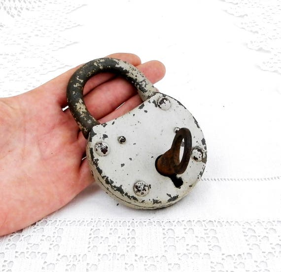 Large Antique Working French Padlock with 1 Working Key, Steampunk Decor, Industrial Decor, Retro, Vintage, Interior, Lock, Punk, Collection