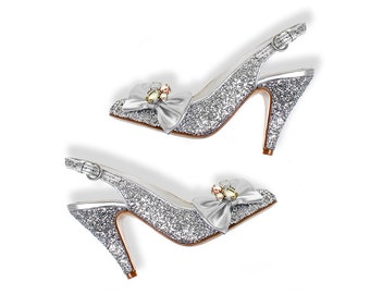 Silver glitter shoes made in Spain