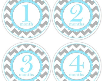 Instant Download - Baby Month to Month Stickers, Monthly Birthday Stickers for Baby, Chevron Photo Prop Birthday Stickers, Chevron and Blue