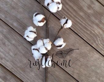 Cotton Stem / Cotton Branch / Cotton Floral Decor / Rustic Home Decor / Cotton Boll Ball / Stalk / Spray / Stem / Floral White / Farmhouse