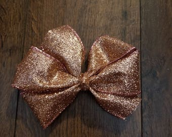 5' Sparkle Bows, Rose Gold Sparkle Bows, Glitter Bows, 5' Glitter Bows, Little Girls Bows, Hair Bows