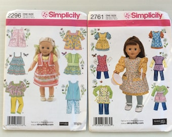18 Inch Doll Clothes Pattern,American Girl Doll Clothes,Dress,Pants,Apron,Shirt,Camisole,Doll Wardrobe,Peasant Top,Simplicity Pattern