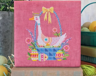 Nest Egg - Satsuma Street - Easter goose in basket - cross stitch pattern - Instant download PDF