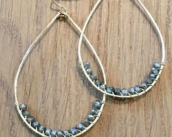 Labradorite Gemstone Oval Hoop Earrings, 14Kt Gold Filled or Silver, Hand Hammered Wire Wrapped Tear Drop Earrings, Large Statement Earrings